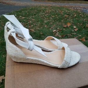 Alexandre Birman Clarita Tweed White Wedge Size 37